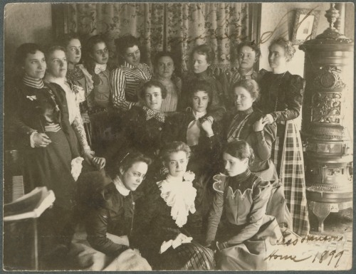 Unidentified students in the home of Bess Hanson