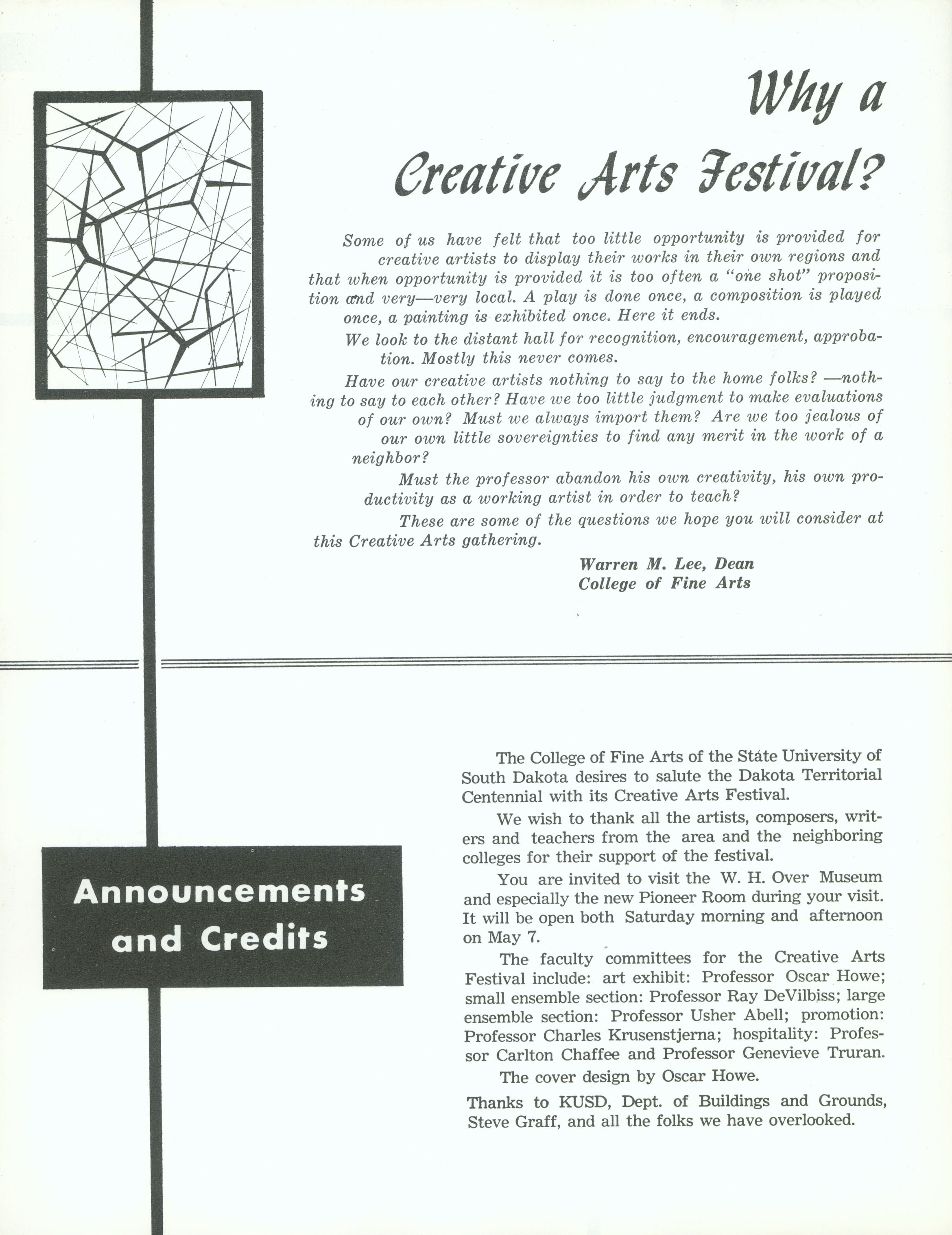 Creative Arts Festival 1960 on oscar howe museum