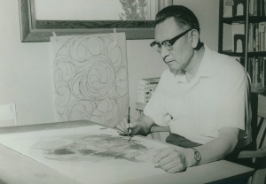 Oscar Howe in Studio, 1960's