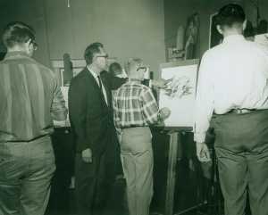 Oscar Howe with students at the University of South Dakota